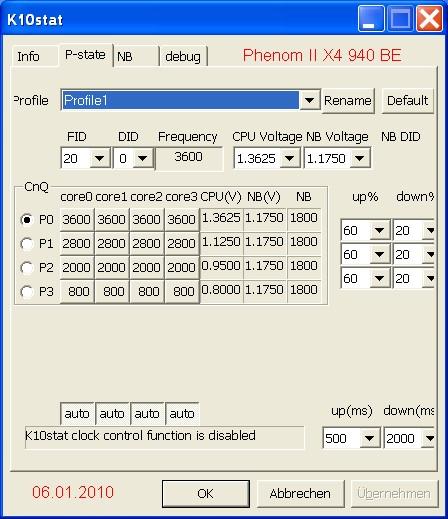 Tuningeinstellung 940BE  mit K10stat 060110